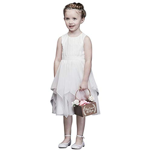- David's Bridal Chiffon Flower Girl/Communion Dress with Large Bow Sash Style OP253, Soft White, 7
