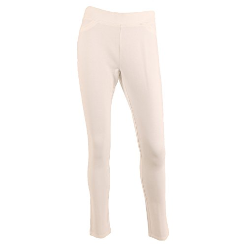 SIONI Women's 'EURO Stretch' Seam Back Pull On Pants In (Cream Dress Pants)