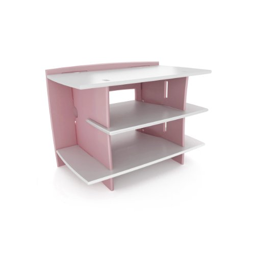 (Legaré Furniture Kids Gaming and TV Media Stand, Standard Storage Unit for Bedroom, Basement, and Playroom, Pink and White)
