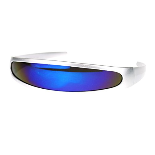 [Cyclops Robot Costume Sunglasses Party Rave Futuristic Blue Mirror Lens Silver] (Cyclops Glasses)
