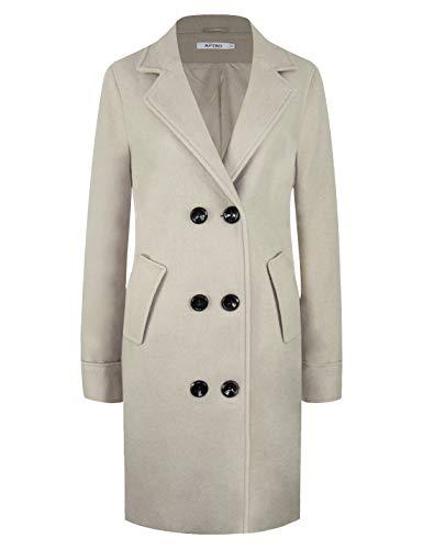 APTRO Women's Winter Double Breasted Wool Coat Long Lapel Overcoat WS01 Gray XL