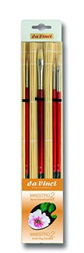 da Vinci Oil & Acrylic Series 5384 Maestro 2 Oil Brush Set, Hog Bristle with Red Handles and Bamboo Mat, 4 Brushes