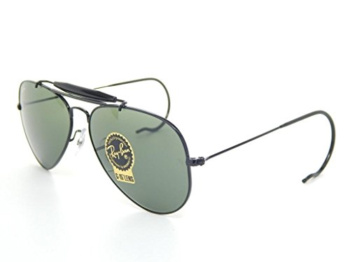 Ray Ban RB3030 L9500 58 Black/Crystal Green Outdoorsman Bundle - 2 - Black Ban Outdoorsman Ray
