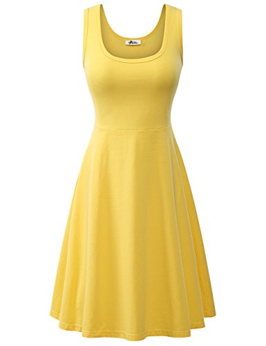 Herou Women Summer Beach Casual Flared Tank Dress (Medium, Yellow)