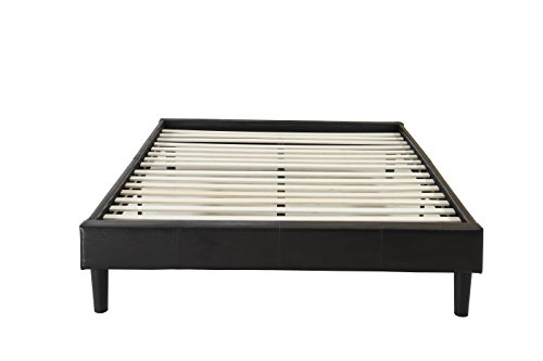 Modern Espresso Brown Bonded Leather Platform Bed with Wooden Slats (Queen)