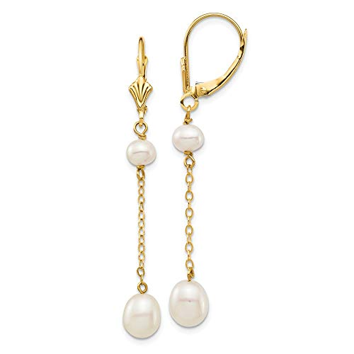 14K Yellow Gold Plated 5-7mm White Rice Freshwater Cultured Pearl Leverback Dangle Earrings