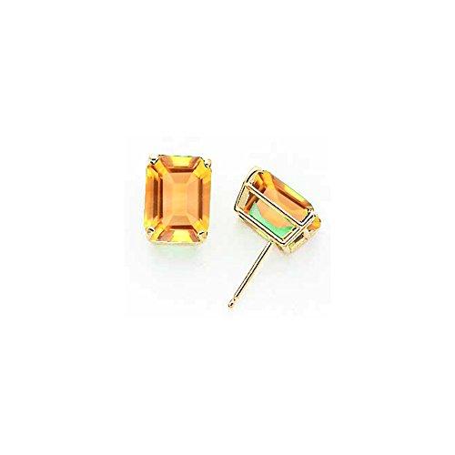 14k 10x8mm Emerald Cut Citrine earring