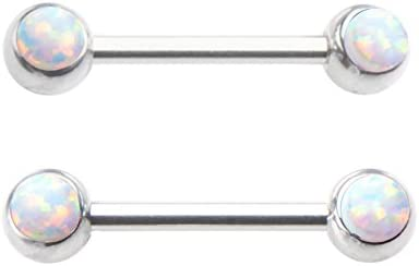 316L Surgical Steel Barbell Piercing Nipple Ring Bar Body Jewelry Opal Stone White