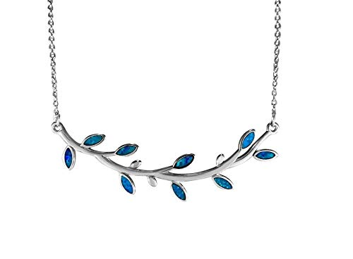 Maile Leaf Pendant - Aloha Jewelry Company Sterling Silver Synthetic Opal Maile Leaf Necklace Pendant with 16