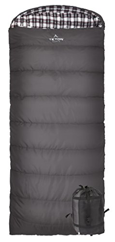 TETON Sports Fahrenheit XXL +20F Sleeping Bag; TETON Sleeping Bag Great for Cold Weather Camping; Lightweight Sleeping Bag; Hiking, Camping; Grey, Right Zip