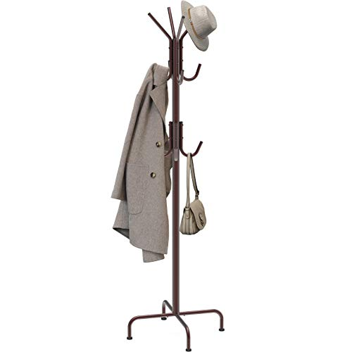 Simple Houseware Standing Coat and Hat Hanger Organizer Rack, Bronze