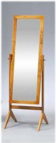 Legacy Decor Oak Finish Wood Rectangular Cheval Floor Mirror, Free Standing Mirror
