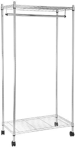 AmazonBasics Garment Rack with Top and Bottom Shelves - Chrome