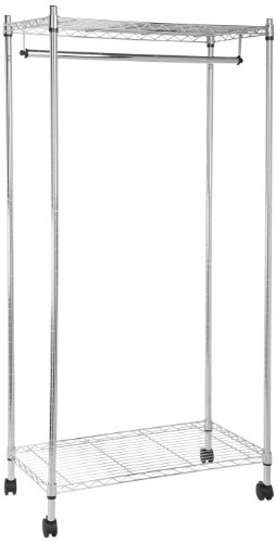 - AmazonBasics Garment Hanging Rolling Rack with Top and Bottom Shelves - Chrome