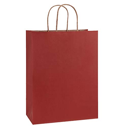 BagDream Gift Bags 10x5x13 Inches 25Pcs Red Stripes Kraft Paper Bags, Shopping Bags, Mechandise Bags, Retail Bags, Party Bags, Paper Gift Bags with Handles, 100% Recycled Paper Bags FSC Compliant