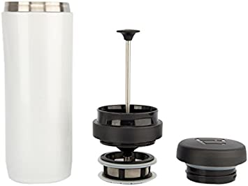Espro Stainless Steel 12 Ounce Travel Press with Coffee and Tea Filters, Bright White