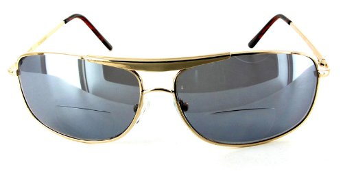 ''MACH 5'' Men's Aviator-style designer Bifocal Sunglasses for youthful and active people who need to read cell phones, maps, directions, etc. while they drive, work, read, travel or play sports in the sun. by Ritzy Readers (Image #2)
