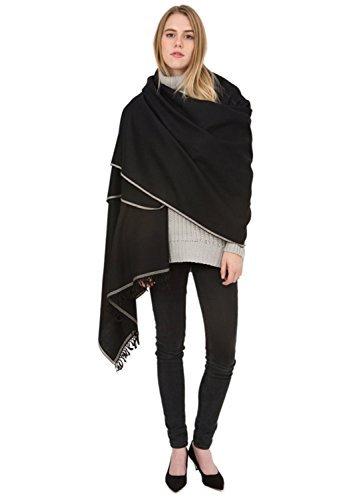likemary Merino Wool Wrap Shawl & Blanket Scarf Oversize Fairtrade Pashmina Shoreditch Black 100 X 200cm