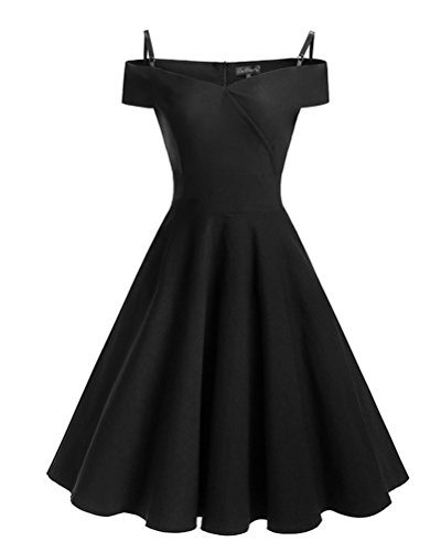 Mujer Vestido Cóctel de Fiesta Elegante Sin Tirantes Manga Corta Vestidos de Coctel años 50 Negro