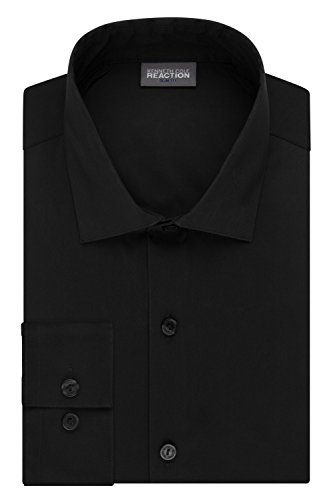 Kenneth Cole Reaction Men's Technicole Slim Fit Stretch Solid Spread Collar Dress Shirt , Black, 16