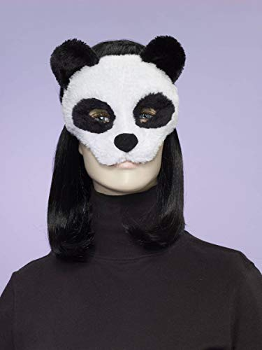 Forum Novelties Women's Plush Panda Mask, White/Black, One Size