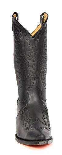 Stivali Cowboy in Pelle Scivolare su Appuntito Lunghezza di Vitello Tacco Western 01AR-Hi Nero