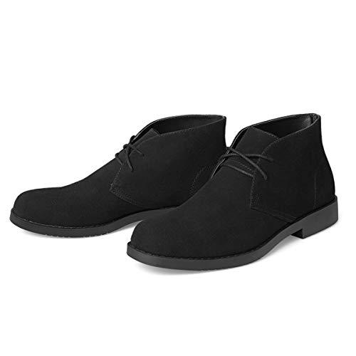 Men's Chukka Boots Suede Shoes - Classic Lace Up Desert Boot Casual Ankle Chukkas Botas de Hombre BLACK10.5 D (M) US