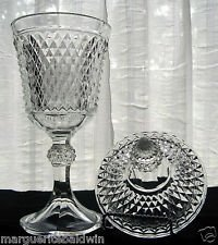 Indiana Glass Company Clear Glass Diamond Point Covered Candy/Urn Dish/Jar Diamond Point Candy Dish