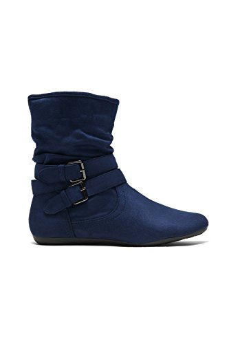 Herstyle Lindell Womens Stacked Heel, Round Toe, Riding Boots, Fashion Slouchy Booties,(The Color of Brown Runs One Size Smaller Than Normal. Blue