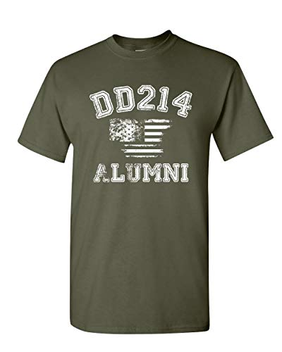 DD214 Alumni Distressed American Flag T-Shirt Military Veteran Mens Tee Shirt Military Green XL