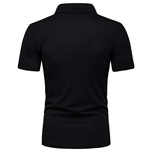 LEXUPA BHYDRY Mens t-Shirt Pack Fashionable Mens Two-Color Stitching Casual High-Grade Lapel Shirt with Short