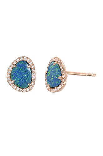 Diamond opal stud earrings, Zoe Lev Jewelry by Zoe Lev Jewelry