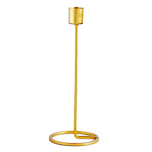 (ZAMTAC Candlelight Dinner Candlestick Round Base Gold Tone Table Top Metal Candle Holder Home Decoration)