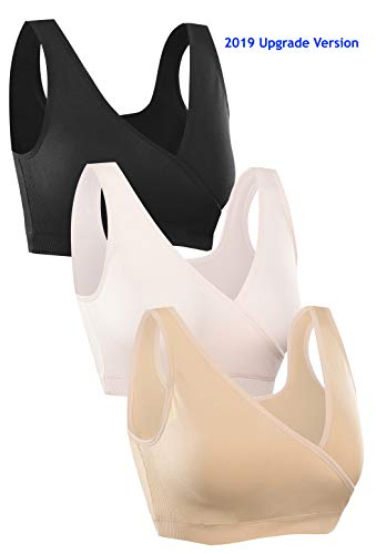 HOFISH Women's Petite Seamless Maternity Sleep Breastfeeding Everyday Bra 3 Pack, 2019 Upgrade: Black Beige Pink Non-Padded, Medium