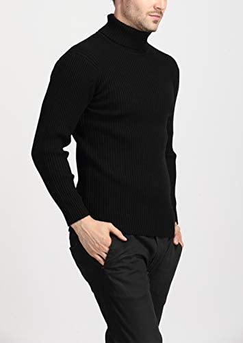 UUYUK Men Turtle Neck Thickened Solid Color Knitted Pullover Sweater