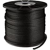 SGT KNOTS Solid Braid Nylon Rope 1/8'', 5/32'', 3/16'', 1/4'', 5/16'', 3/8'' (3/8'' x 500' - Black)