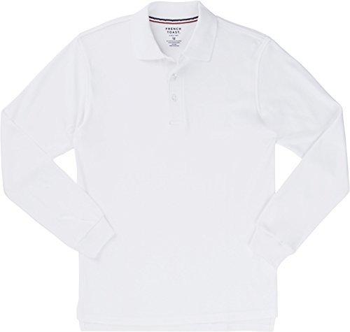 French Toast School Uniform Boys Long Sleeve Interlock Knit Polo Shirt, White, Large (10/12)
