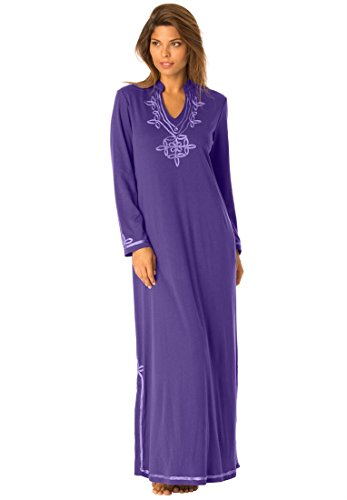 Only Necessities Women's Plus Size Long Tag-Free Lounger Royal Plum,3X