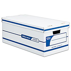 Office Depot 60% Recycled Quick Set-Up Storage Boxes With Lift-Off Lid, Letter, 10inH x 12inW x 24inD, White/Blue, pk Of 12, 0800403 (Eco Recycled Box)