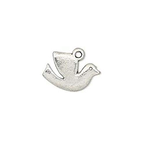 20 Antiqued Silver Plated Pewter Dove Bird Drop Charms 17x12mm Jewelry Making Charms and Pendants