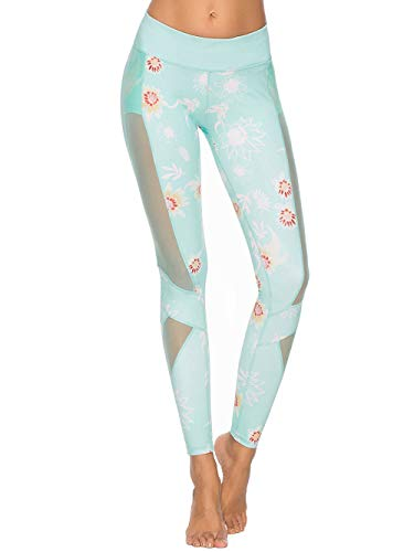 Mint Lilac Women's Printed Full-Length Leggings Athletic Workout Pants with Mesh Panels Small Mint