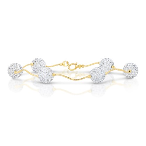 Art and Molly 14k Yellow Gold Twisted Bar Link Station Bracelet with White Crystal Ball Beads (7.5