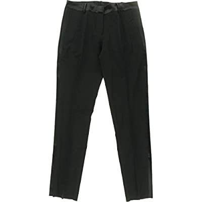 Marlowe Women's Slim Wool Tuxedo Pant with Satin Stripe by Dessy Group - Black - Size 18 at Women's Clothing store