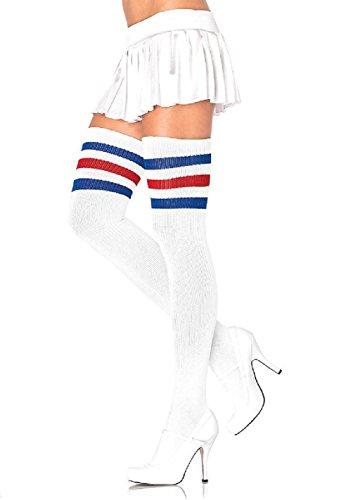 Athlete Thigh Highs With 3 Stripe Top Leg Avenue 1980s Athletic Sock Look