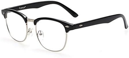 Cyxus Blue Light Blocking [Semi-Rimless] Computer Glasses, Anti UV Eye Strain Clear Lens Reading Video Eyewear, Men/Women