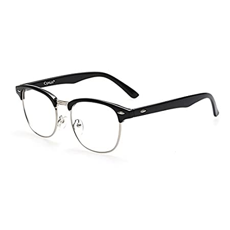 Cyxus Blue Light Blocking [Semi-Rimless] Computer Glasses, Anti UV Eye Strain Clear Lens Reading Eyewear, Men/Women
