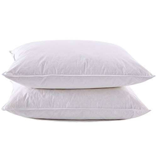 puredown Premium White Goose Feather and Down Pillows Luxury Pillow 500 Fill Power Set of 2 Queen Size