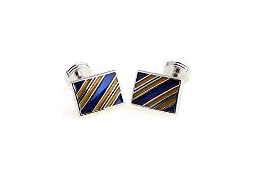 Adisaer Cufflinks Silver Blue Black Rectangle Cufflinks for Men Vintage Classic and Fashionable Gift