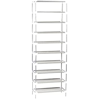 Shoe Rack10 Tie Organizer 50 Pair Storage Stackable Shelves Easy Assembled Non