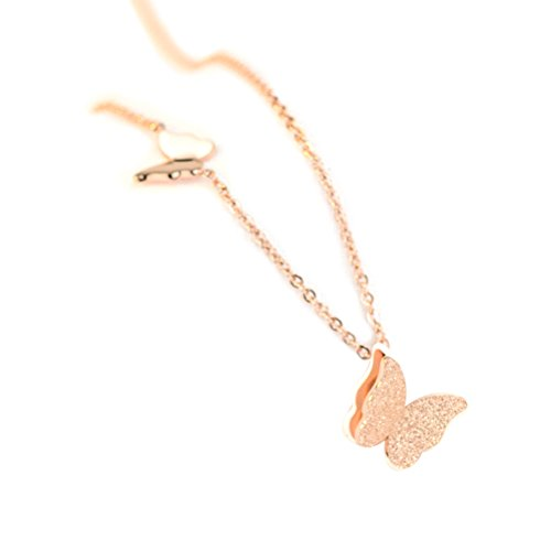 OULII Women Necklace Titanium Steel Plating 18K Two Butterflies Pattern Novelty Necklace Pendant Chain (Rose Gold) from OULII